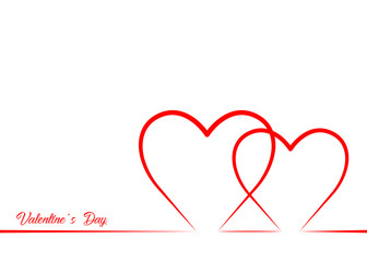 Valentine's Day with red heart, line style , vector isolated or white background