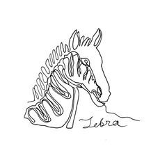 Continuous one line drawing.Portrait of zebra. African animal. Minimalism style. Text Zebra. Vector Ink illustration for your design,logo, card, banner, poster, flyer.