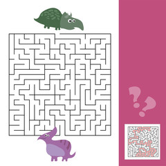 Funny maze for children. Help the dino to find friend. Kids games with answer