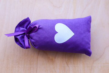 purple lavender bag, bag with heart and lavender
