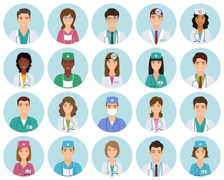 Set of doctors and nurses avatars in uniform in circle frames. Collection of medicine employee faces in circles.