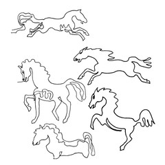 Continuous one line drawing. Horses. Minimalism style. Text Wild animals. Vector Ink illustration for your design,logo, card, banner, poster, flyer.