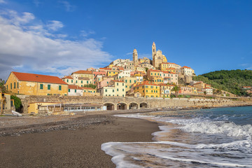 Stores photo Ligurie View of Cervo town from the beach, Province of Imperia, Liguria, Italy