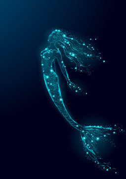 Low poly mermaid triangle myth creature fairy fantasy mystic. Poligonal point line glowing blue dark night constellation stars. Beautiful underwater depth ocean vector illustration