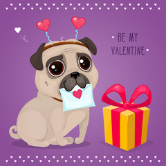 "Greeting card for Valentine's Day with a cute pug and gift. Cartoon dog with letter. Vector illustration for a postcard or a poster. Text ""Be My Valentine""."