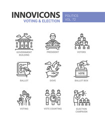 Voting and election - set of modern thin line design icons