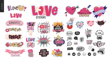 Set of contemporary girlie Love letter logo. A set of vector patches, logo and letter composition. Vector stickers kit.