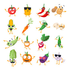 Funny vegetables - vector isolated cartoon emoticons