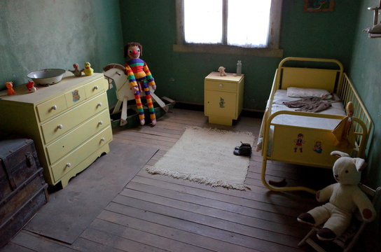Inside a preserved children's bedroom in the Humberstone Saltpeter Works