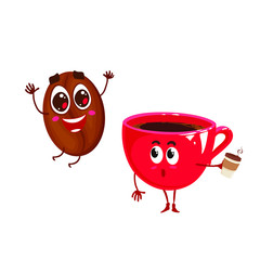 Vector two happy characters. Cup of coffee and jumping coffee bean. Isolated on white background.