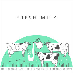 Illustration with a cow, a glass of milk and a jug. Vector for packing fresh natural milk.