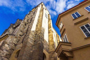 The Church of St.Gile in Prague, gothic style architecture in Praha, abstract corner view, Czech Republic