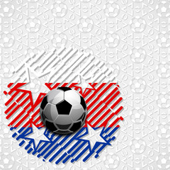 Football soccer ball abstract strips colors of the Russian flag pattern sport vector illustration background