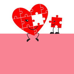 Cute jigsaw puzzle heart and missing piece cartoon, with space for text. Valentine design.