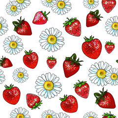 Vector beautiful light pattern with many strawberry and chamomile. Isolated on white background. Repeat pattern.