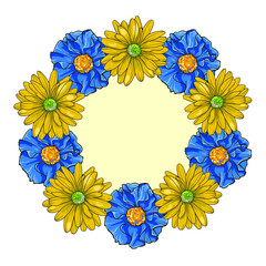 Blue and yellow vector flowers. Illustration isolated on white background.