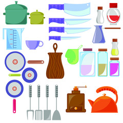 Set of kitchen utensils and tools. Vector illustration isolated on white background. Cartoon flat style