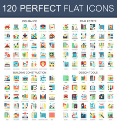 120 vector complex flat icons concept symbols of insurance, real estate, building construction, design tools. Web infographic icon design.