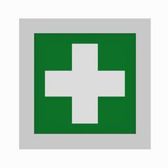 aktuelle Rettungszeichen nach ASR A1.3: Erste Hilfe. Vorderansicht, 3d render