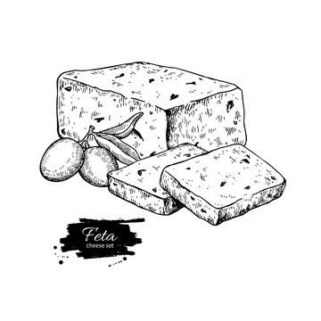 Greek feta cheese block drawing. Vector hand drawn food sketch