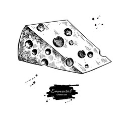 Emmental cheese drawing. Vector hand drawn food sketch. Engraved triangle slice cut.