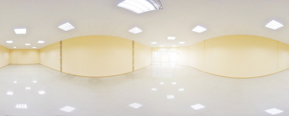 Spherical 360 degrees panorama projection, panorama in interior empty room in modern flat apartments.