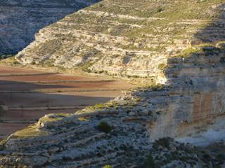 Paisaje en Jorquera, localidad de Albacete, dentro de la comunidad autónoma de Castilla-La Mancha (España) localizada en un enclave natural estrategico