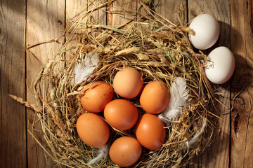 Hen organic eggs in the nest. On wooden rustic background.Copy space.Top view