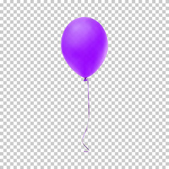 Realistic purple balloon. Vector illustration.