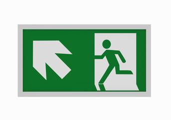 aktuelle Rettungszeichen nach ASR A1.3: Rettungsweg links aufwärts. Vorderansicht, 3d render