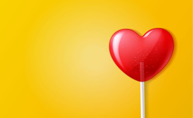 Vector heart lollipop candy 3d valentine day sweet