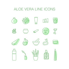 Thin line icon set - aloe vera plant and products