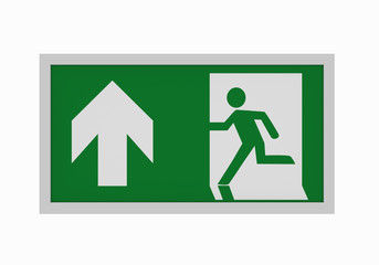 aktuelle Rettungszeichen nach ASR A1.3: Rettungsweg geradeaus. Vorderansicht, 3d render