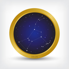 Orion constellation in golden circle, group of star in galaxy, vector illustration