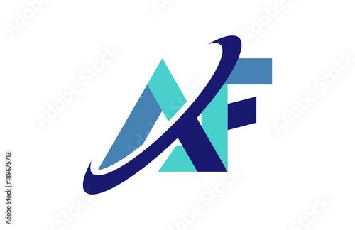 Af Ellipse Swoosh Ribbon Letter Logo Stock Image And Royalty Free
