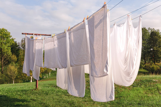Linen hanging on the clothesline and dried