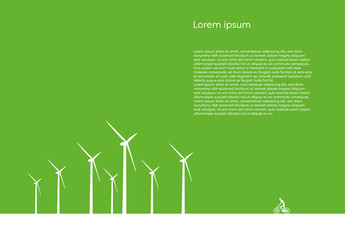 Ecology Illustration with Wind Turbines and Cyclist