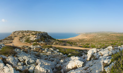 Plateau with Monument of Peace on Cape Greco. View of the coastline from Protaras to Agia Napa, Cyprus