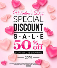 Valentines day special discount sale with balloons shape of heart for online shopping. Vector illustration