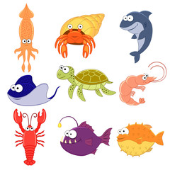 Big vector set of sea creatures. Cute cartoon animals. Vector illustration. Underwoter animals. Sea animals. Shark,  turtle, crab,lobster, stringray, squid.