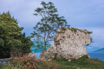 Remains of Venetian citadel in Herceg Novi coastal town at the entrance to Kotor Bay in Montenegro