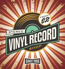 Vinyl record shop retro sign design.