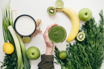 healthy food green smoothie fruits
