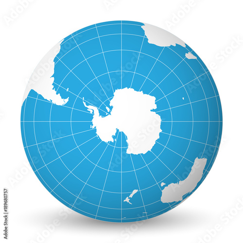 Earth globe with green world map and blue seas and oceans focused on earth globe with green world map and blue seas and oceans focused on antarctica with south gumiabroncs Gallery