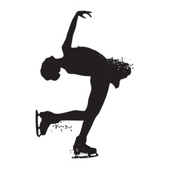 Silhouette skating woman athlete