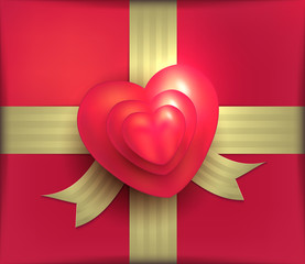 Gift package red heart gold ribbon Valentine Day 3D vector