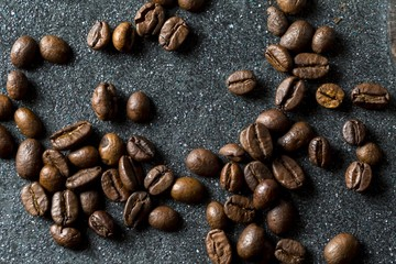 Coffee beans in close up