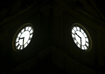 The clock faces on the Pembroke Clock Tower are seen in Pembroke