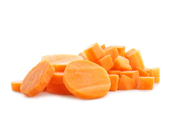 Heap of carrot slices on white background