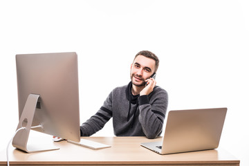 Man working on computer and speak phone with isolated on white office background